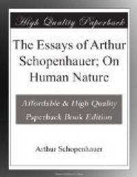 The Essays Of Arthur Schopenhauer On Human Nature Ebook