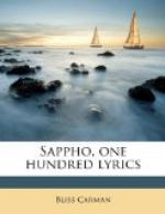 Sappho: One Hundred Lyrics by Bliss Carman