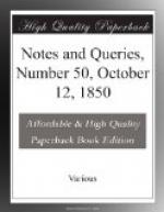 Notes and Queries, Number 50, October 12, 1850 by