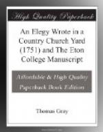 An Elegy Wrote in a Country Church Yard (1751) and The Eton College Manuscript by Thomas Gray