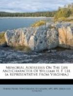 Memorial Addresses on the Life and Character of William H. F. Lee (A Representative from Virginia) by