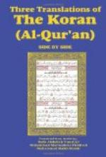 Three Translations of The Koran (Al-Qur'an) side by side by