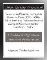 Sonnets, and Sonnets on English Dramatic Poets (1590-1650) by Algernon Swinburne