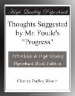 "Thoughts Suggested by Mr. Foude's ""Progress"" by Charles Dudley Warner"