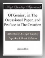 'Of Genius', in The Occasional Paper, and Preface to The Creation by Aaron Hill