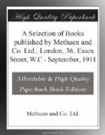 A Selection of Books published by Methuen and Co. Ltd., London, 36, Essex Street, W.C by