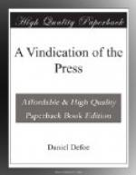 A Vindication of the Press by Daniel Defoe