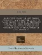 An Exposition of the Last Psalme by John Boys