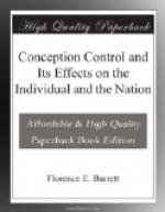 Conception Control and Its Effects on the Individual and the Nation by
