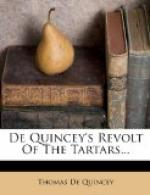 De Quincey's Revolt of the Tartars by Thomas de Quincey