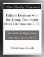Editor's Relations with the Young Contributor (from Literature and Life) by William Dean Howells