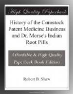 History of the Comstock Patent Medicine Business and Dr. Morse's Indian Root Pills by