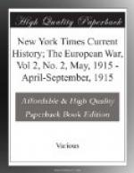 New York Times Current History; The European War, Vol 2, No. 2, May, 1915 by