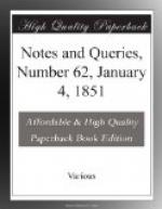 Notes and Queries, Number 62, January 4, 1851 by