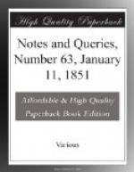 Notes and Queries, Number 63, January 11, 1851 by