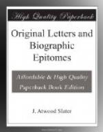 Original Letters and Biographic Epitomes by
