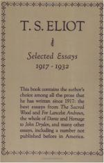 Selected Essays of T. S. Eliot, 1917-1932 by T. S. Eliot