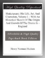 Shakespeare: His Life, Art, And Characters, Volume I. by