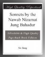 Sonnets by the Nawab Nizamat Jung Bahadur by