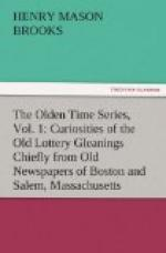 The Olden Time Series, Vol. 1: Curiosities of the Old Lottery by