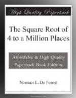 The Square Root of 4 to a Million Places by