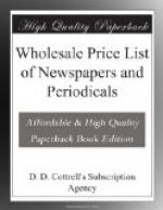 Wholesale Price List of Newspapers and Periodicals by